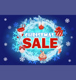 christmas sale - banner with text on blue wreath vector image vector image
