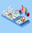 city app traveling backpacker isometric gps vector image