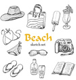 collection of summer elements in sketch style vector image
