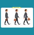collection set of walking and running businessman vector image vector image