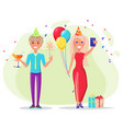 couple celebrating womans birthday at party vector image vector image