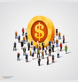 crowd standing around coin vector image vector image