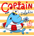 cute dolphin captain with lifebuoy floating on sea vector image vector image