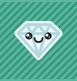 cute kawaii smiling diamond cartoon icon vector image vector image