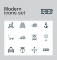 delivery icons set with ship car vehicle auto vector image