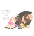 family yoga cartoon characters doing asanas vector image