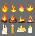 fire light effect flames candle woodpile set vector image