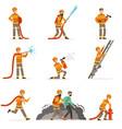 firemen characters doing their job and saving vector image