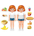 fit and overweight woman with food vector image