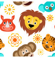 funny cartoon wild animals head seamless pattern vector image