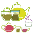Green tea cup teapot glass vector image vector image