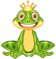 Happy cartoon king frog vector image vector image