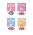happy easter cards collection with cute animals vector image