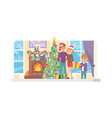 happy family celebrate christmas time new year vector image