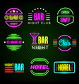 hotel neon advertising american retro night club vector image