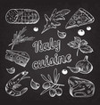 italian food hand drawn doodle on blackboard vector image vector image