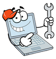 Laptop Guy Holding a Wrench vector image vector image