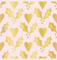 luxe rose gold foil christmas holly berries heart vector image vector image