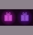neon icon of purple and violet gift box vector image