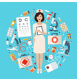 Nurse with Medical Icons Set Health Care Stuff vector image vector image