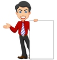 Office worker cartoon with blank sign vector image