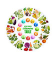 organic vegetables and vitamin complex table vector image vector image