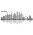 outline new york usa city skyline with modern vector image vector image