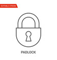 padlock icon thin line vector image vector image