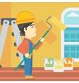 Painter with paint roller vector image vector image