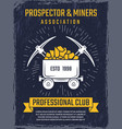 poster design template mineral and gold mining vector image vector image