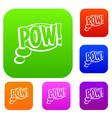pow speech bubble set color collection vector image vector image
