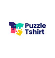 puzzle tee match t shirt logo icon vector image
