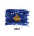 realistic watercolor painting flag kosovo vector image vector image