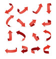 red ribbon arrow set arrow stickerst various vector image vector image