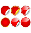 Red sticker set vector image vector image