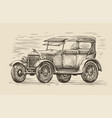 retro car sketch automobile vintage vector image vector image