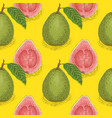 seamless pattern ripe guava with leaf vector image vector image