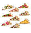set different tasty slices fresh italian vector image vector image