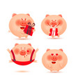set of cheerful and cute piglets christmas pigs vector image vector image