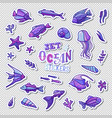 set of ocean patches stickers embroidery and vector image