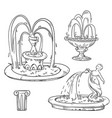 set outdoor vintage fountains sketch vector image vector image