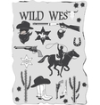 set wild west cowboy designed elements vector image
