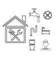 sketch contour house with wrench cross inside and vector image vector image