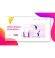 smart house website landing page people at huge vector image vector image