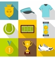 Sport with racket icons set flat style vector image vector image