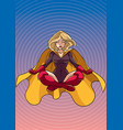 superheroine meditating with background vector image vector image