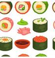 sushi japanese cuisine seamless pattern ginger and vector image vector image