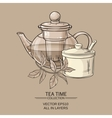 teapot sugar bowl and tea leaves vector image vector image