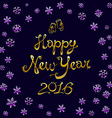 Vintage happy new year gold Typographic 2016 vector image