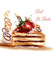 with desert hand painted piece of cake vector image